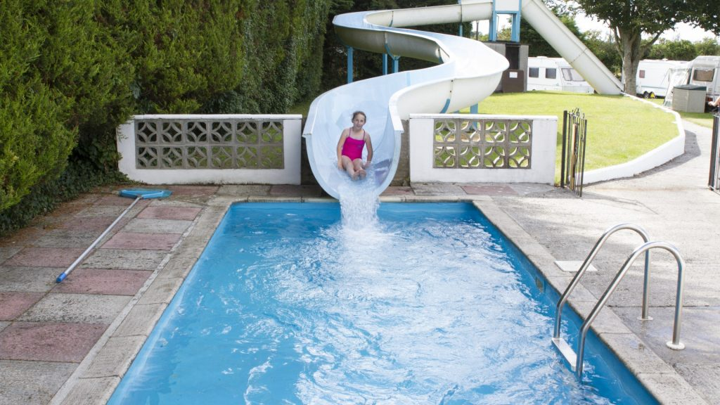 Outdoor Swimming pool with slide at Little Bodieve