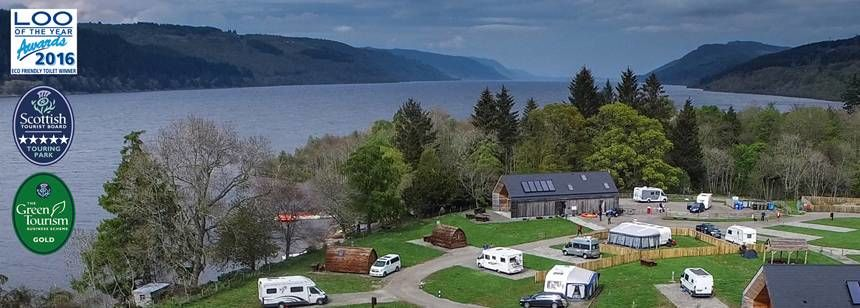 Loch Ness shore Caravan Site. Photo