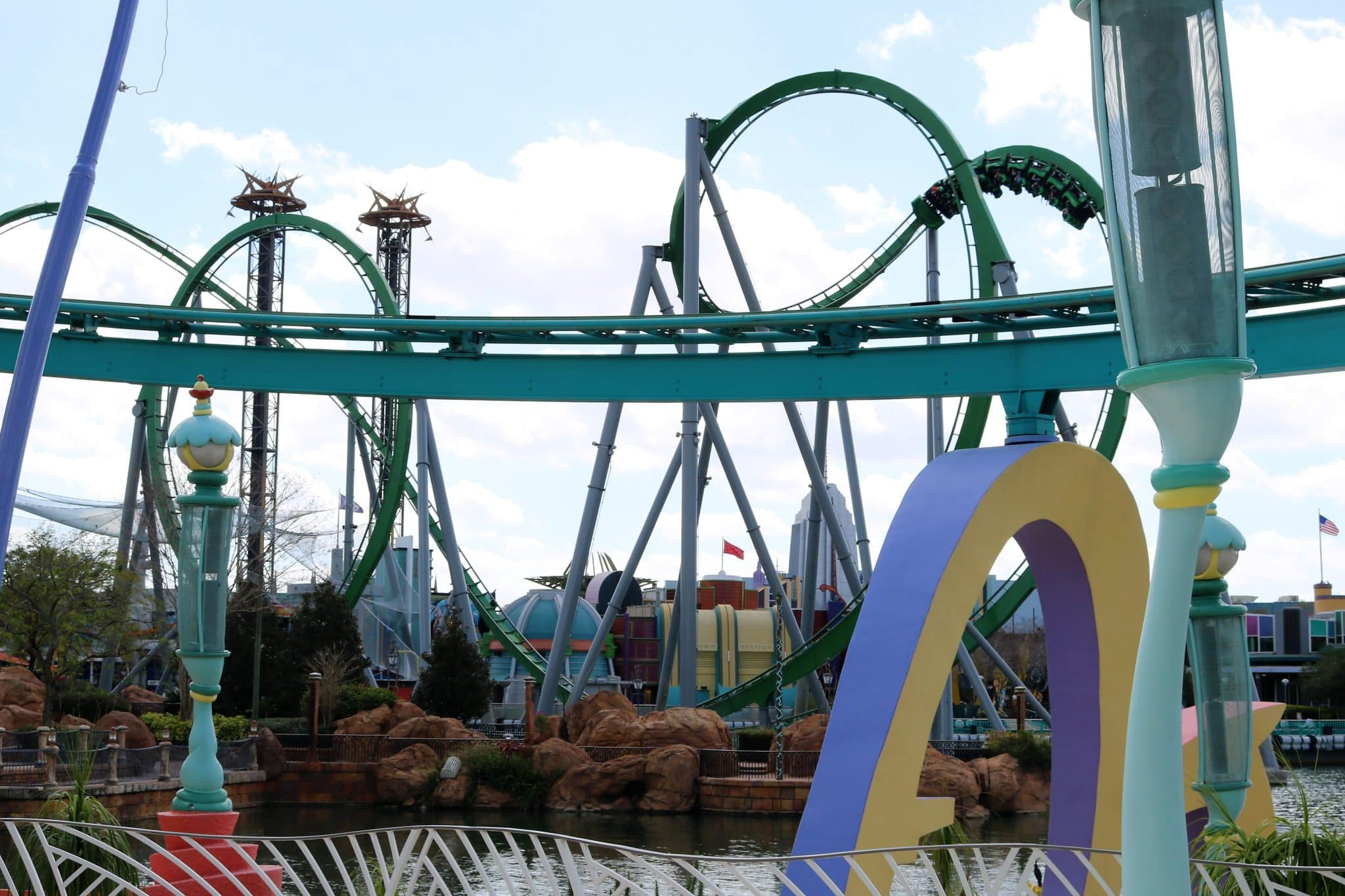 View of the Incredible Hulk Coaster from Seuss Landing