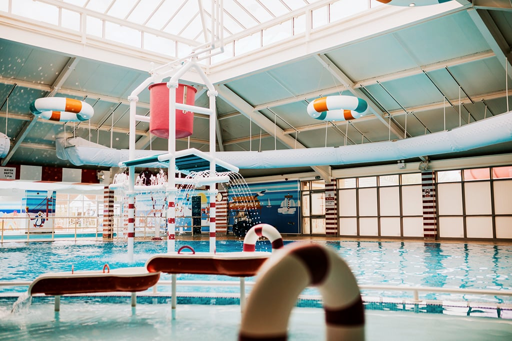 Thorpe park, recently refurbished indoor pool.