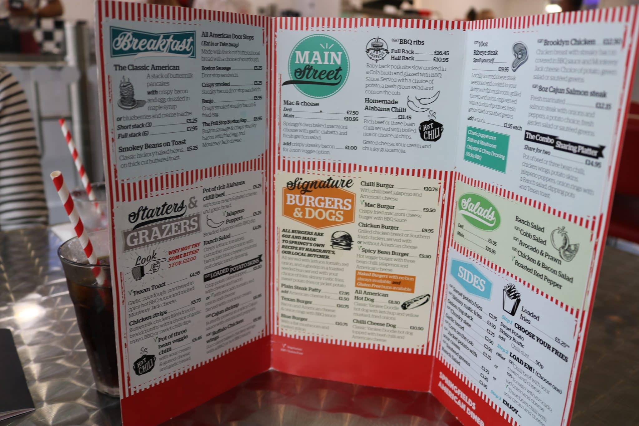 The menu at Springy's Diner