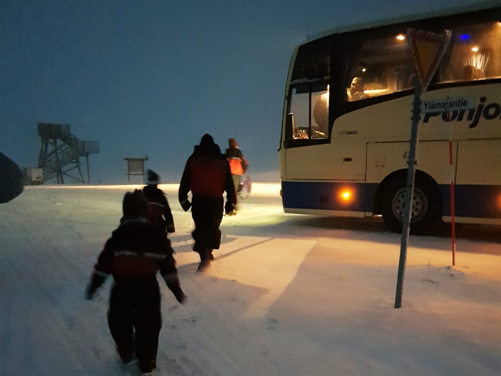 Boarding the coach for the Wilderness Dinner and activities