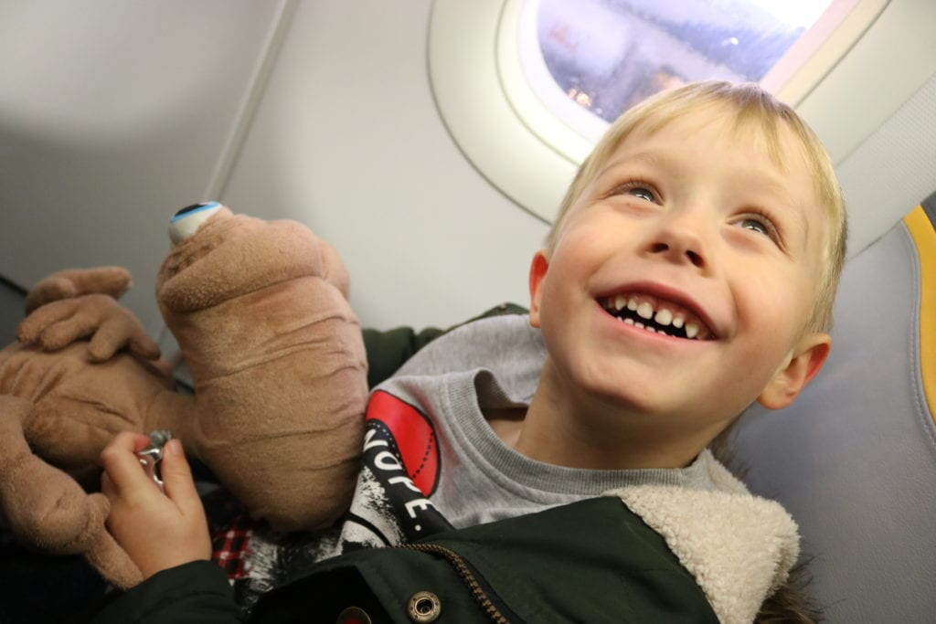 One excited 5 year old on his way to Lapland