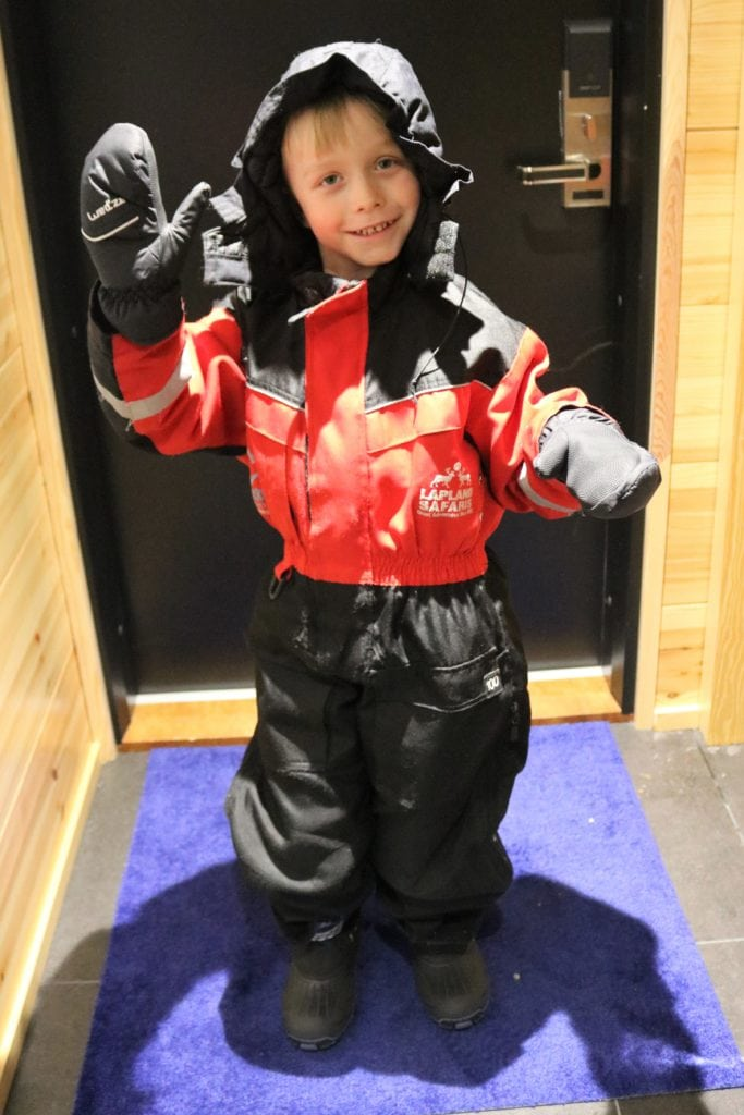 The all in one snow suits that you are given for your stay