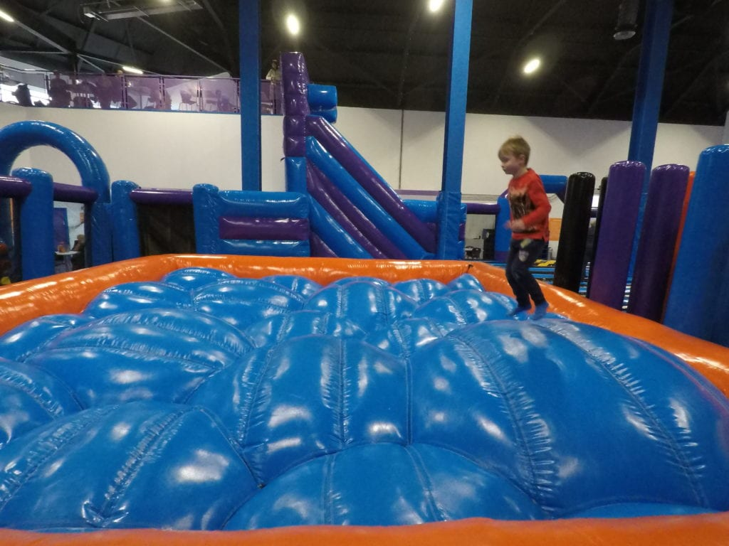 Bouncing fun - it's a challenge to stay upright