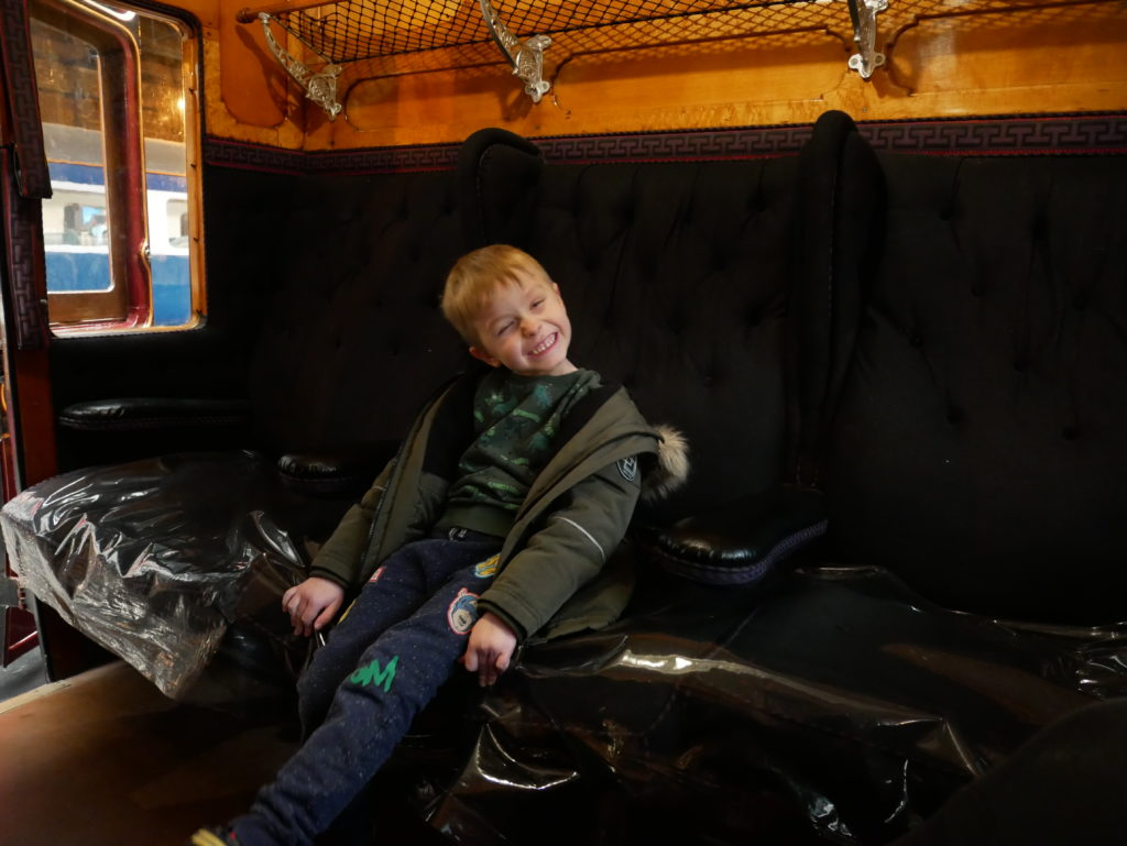 Having a rest in one of the trains in the Station Hall