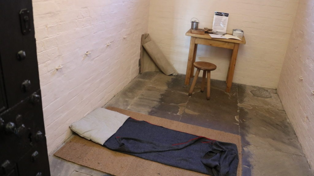 One of the prison cells, how it would have looked back when the prison was in use
