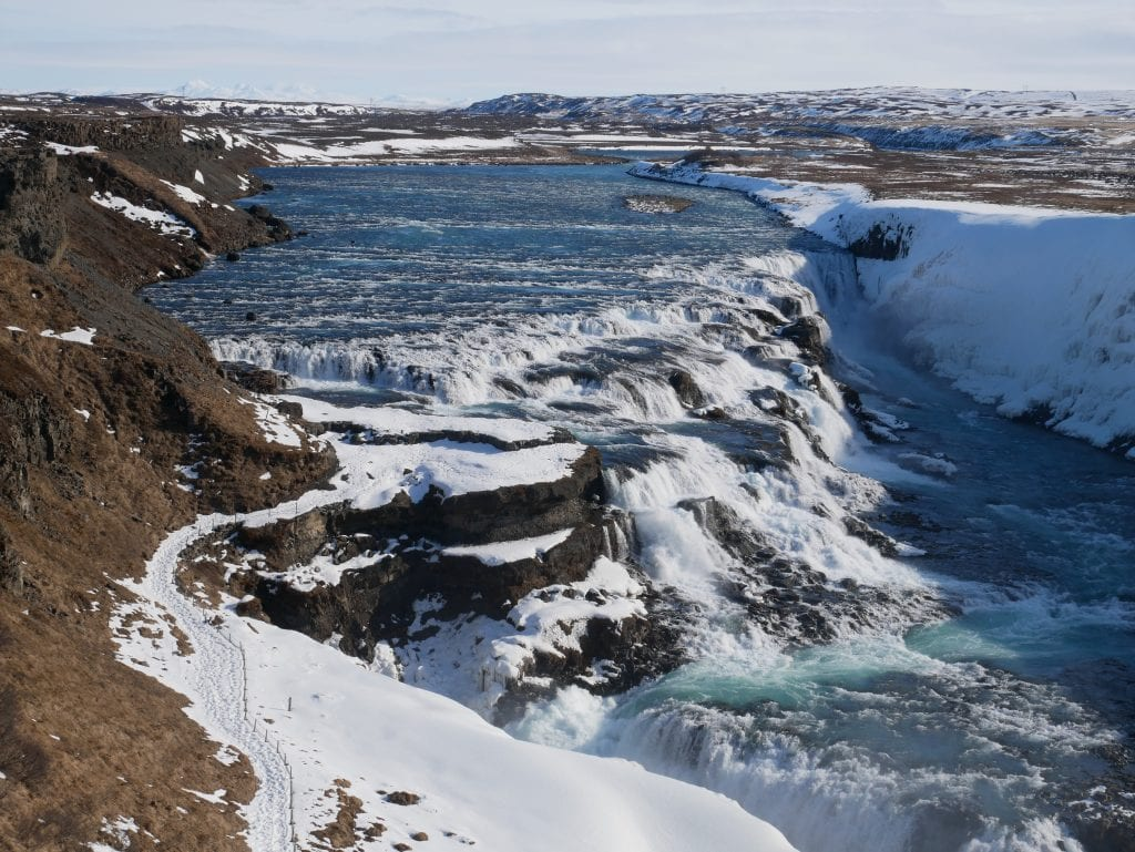 The spectacular Gullfoss waterfall from the higher level