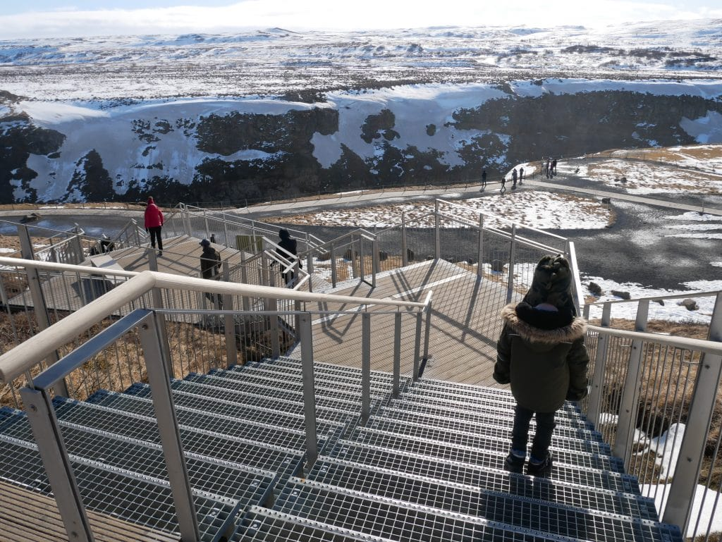 Walking down to the lower viewing level at Gullfoss
