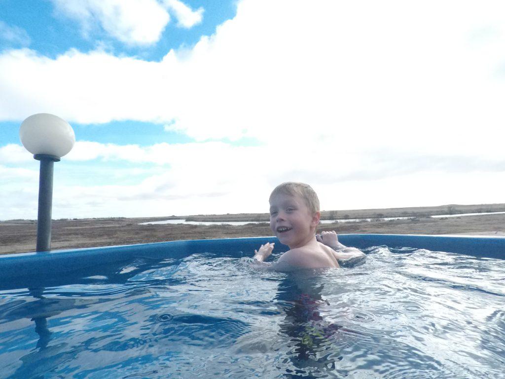 Having fun in the hot tub