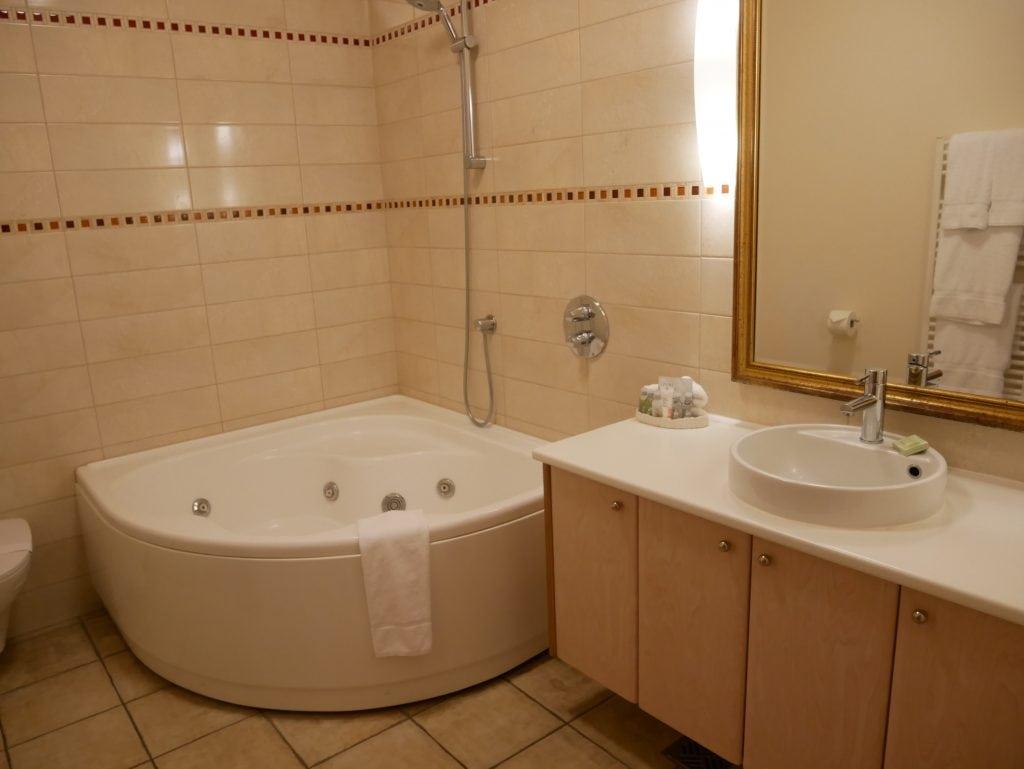 Our bathroom with spa bath