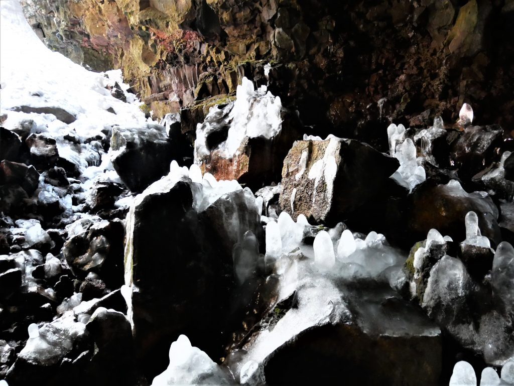 Some of the stunning ice formations near the entrance to the tunnel