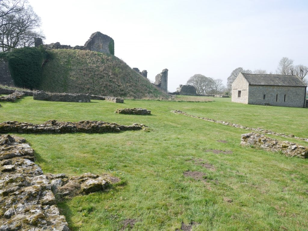 Looking towards the chapel and motte at Pickering castle