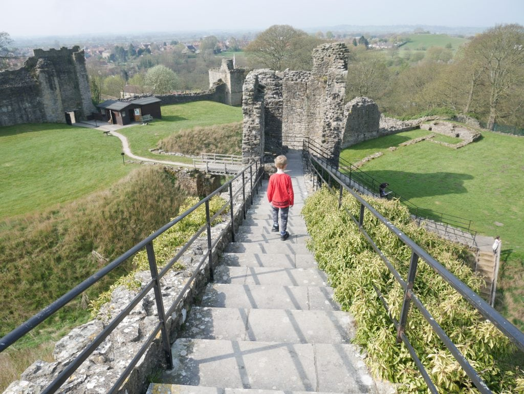 Walking down from the top of the motte
