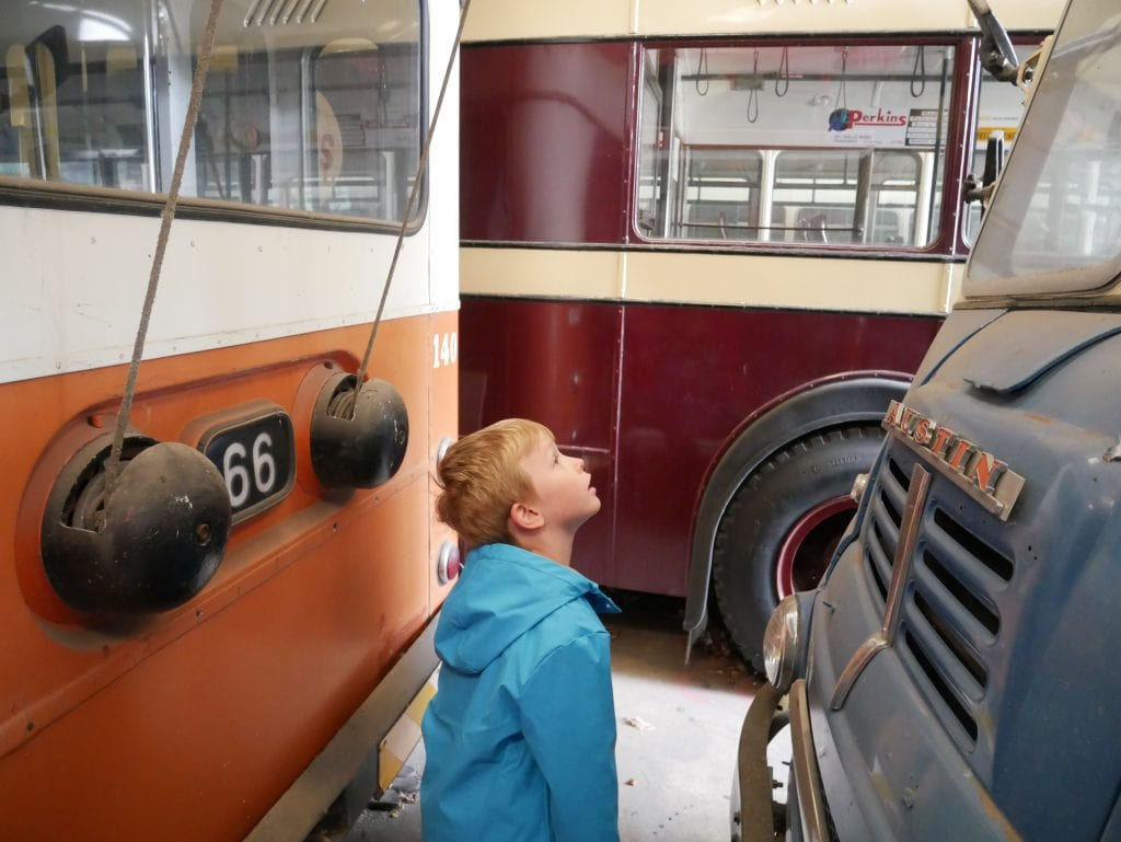 Squeezing between the trolleybuses in the hangar