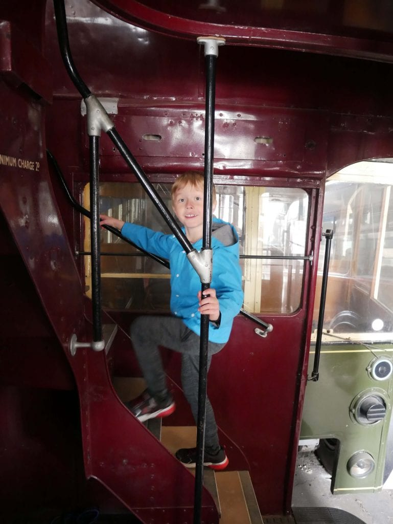 Exploring one of the open trolleybuses