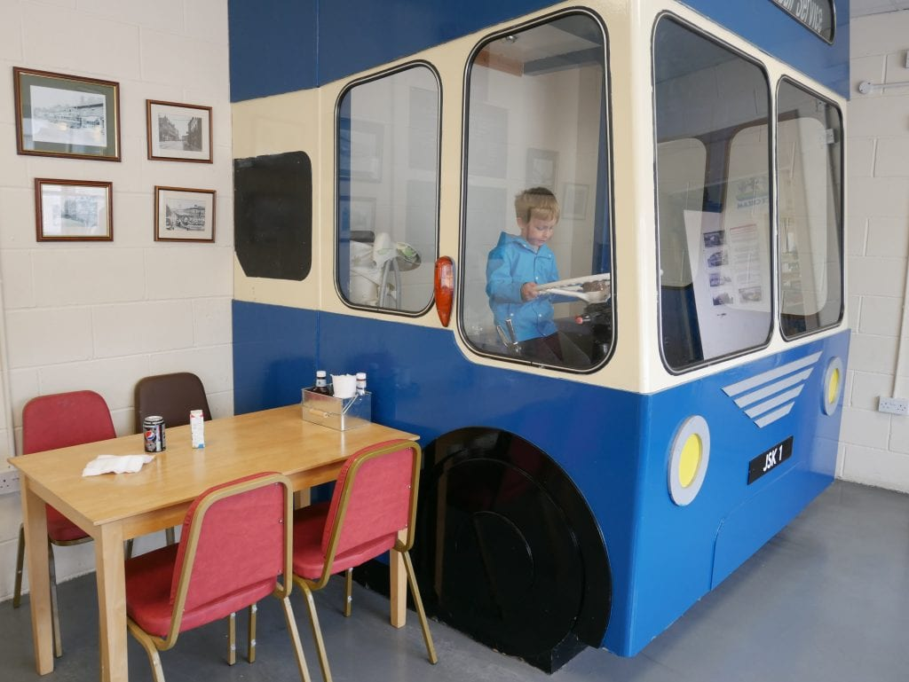 The bus in the cafe