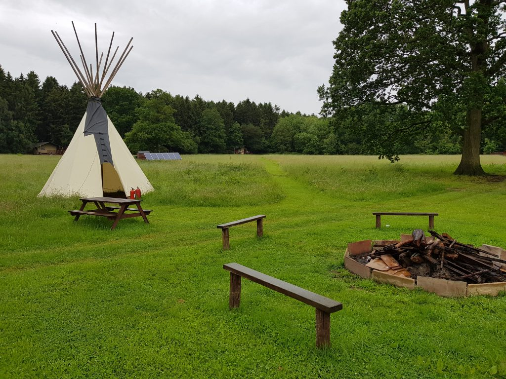 The communal camp fire area at Camp Katur