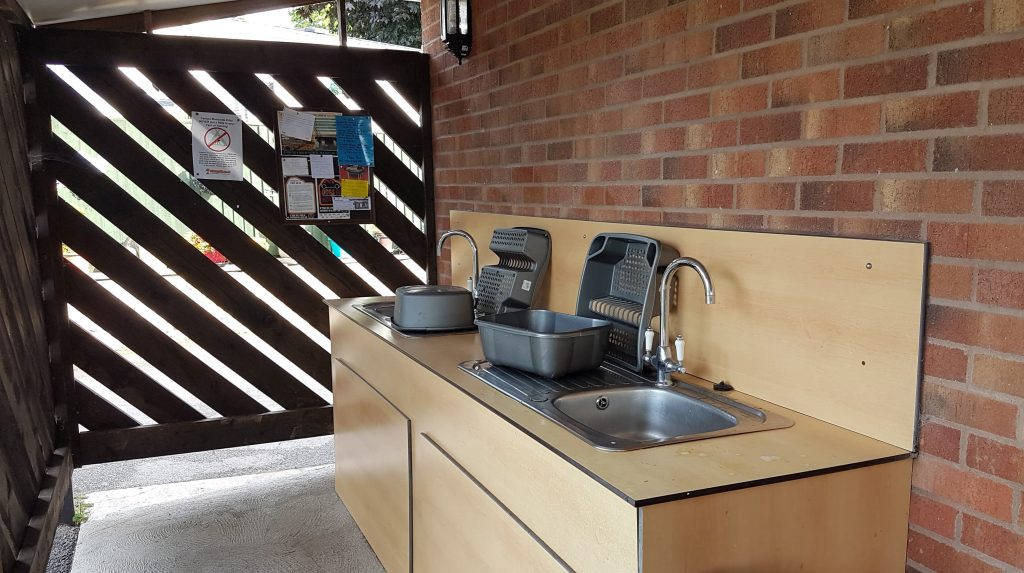 Outdoor washing up area
