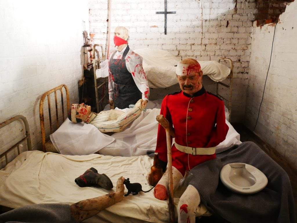 Gruesome waxworks, mostly in underground rooms