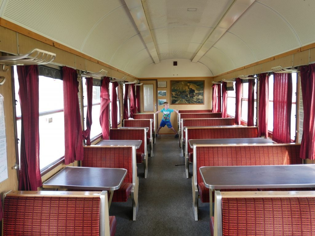 Inside the railway carriage