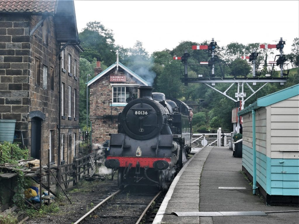 Changing the steam engines at Grosmont station