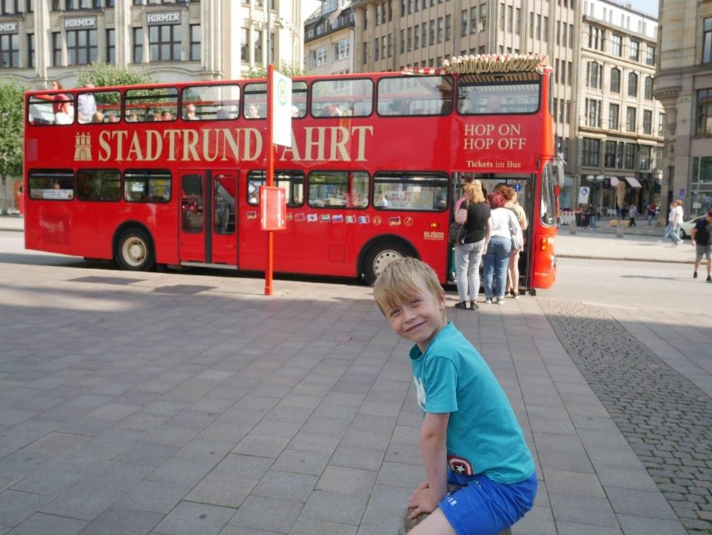The Hamburg red double decker bus tour