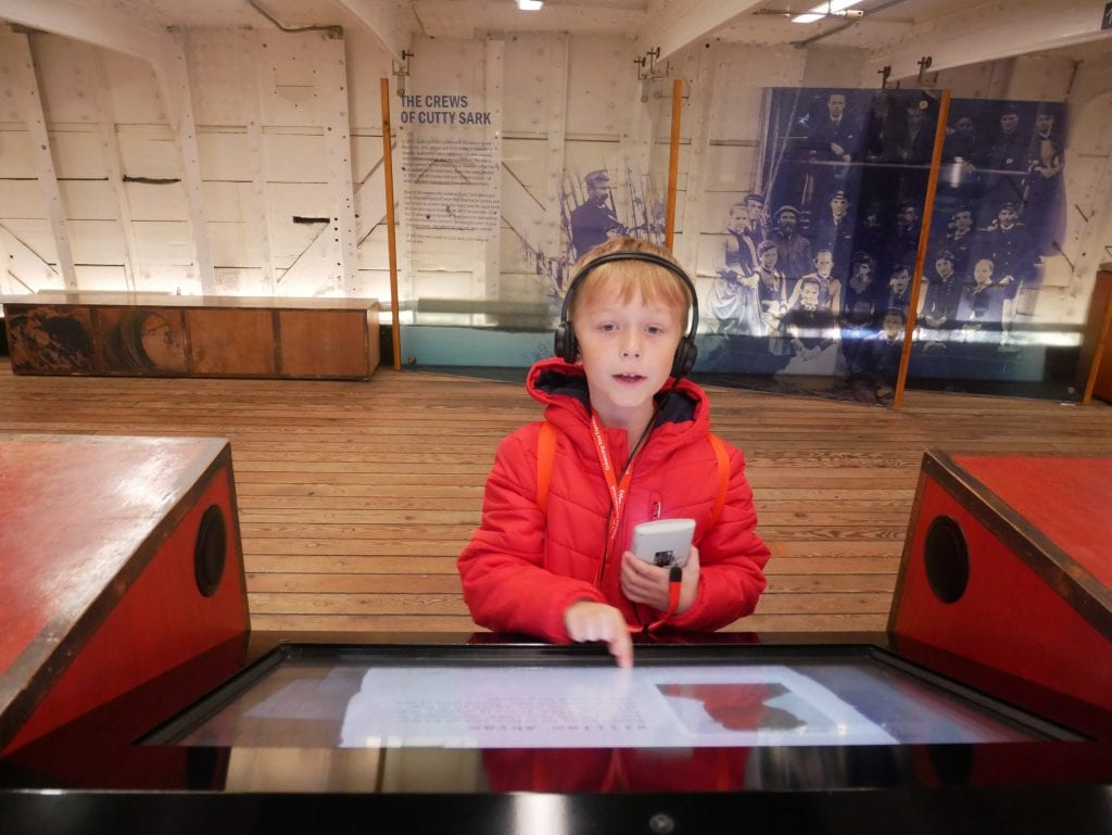 Enjoying the interactive exhibits on the second level