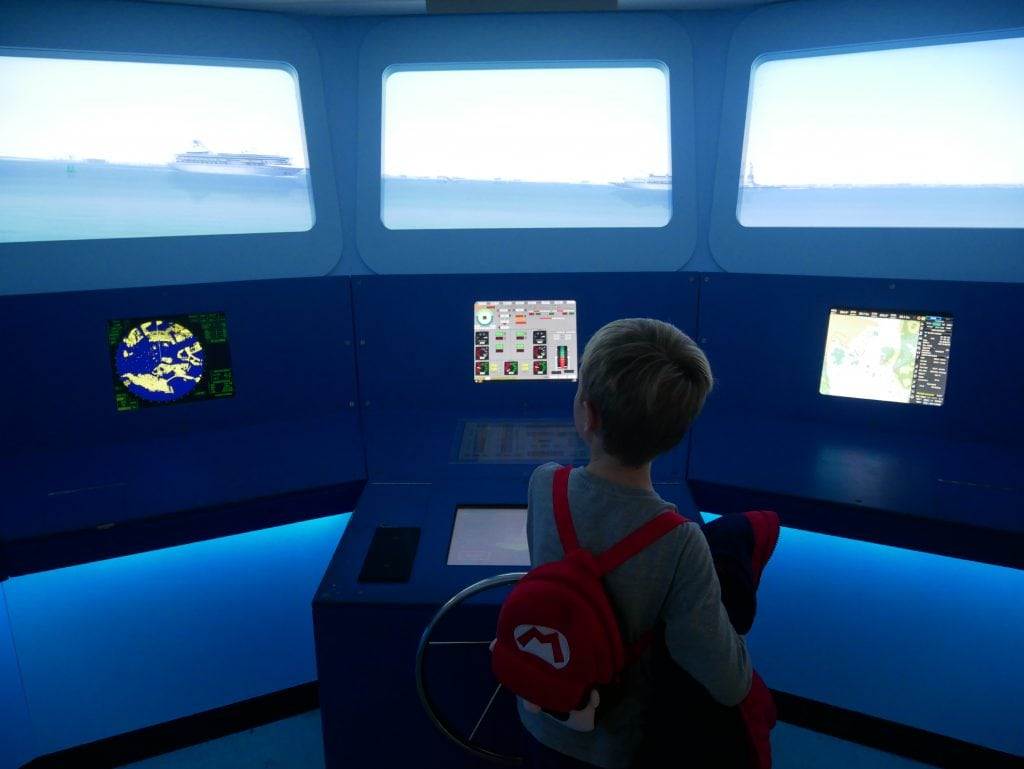 Having a go at the ship simulator