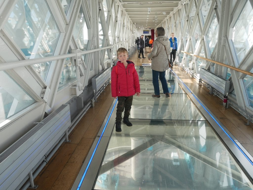 Walking on one of the two glass walkways
